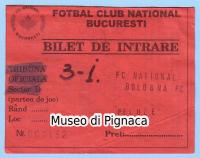 1998 - biglietto torneo Intertoto FC National Bucuresti - Bologna FC