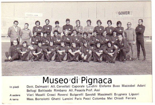 1974-75 Cartolina ufficiale Bologna FC (rosa e staff al ...